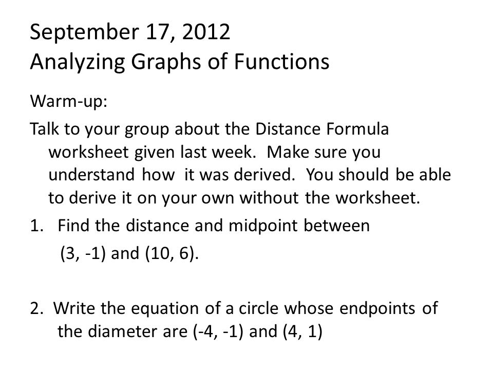 September 17 2012 Analyzing Graphs of Functions ppt download – Graphs of Functions Worksheet