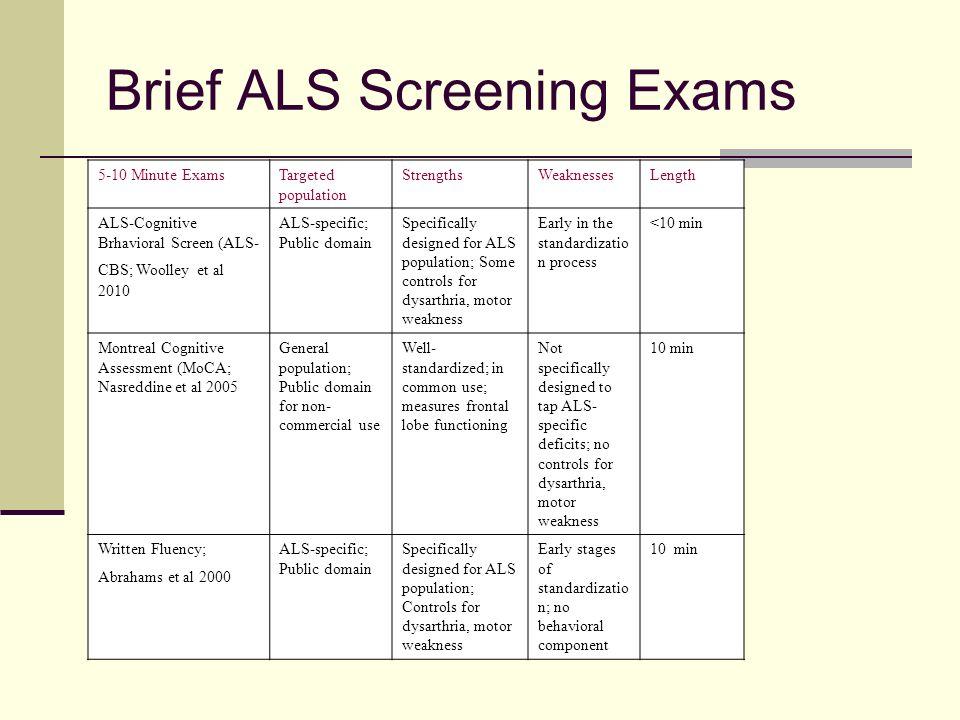 Brief ALS Screening Exams