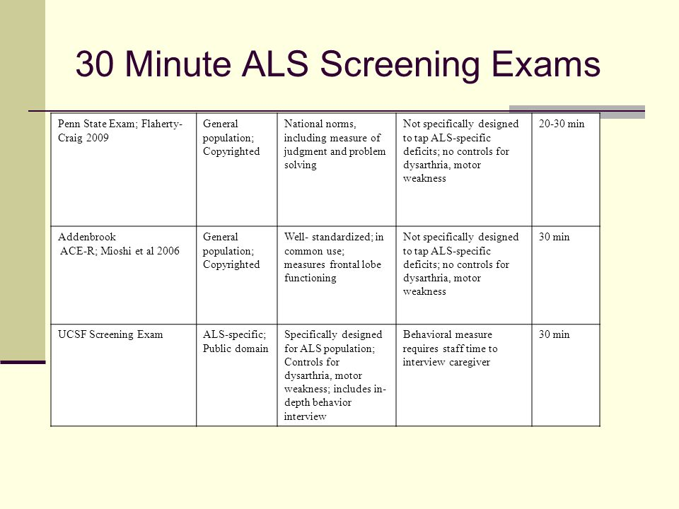 30 Minute ALS Screening Exams