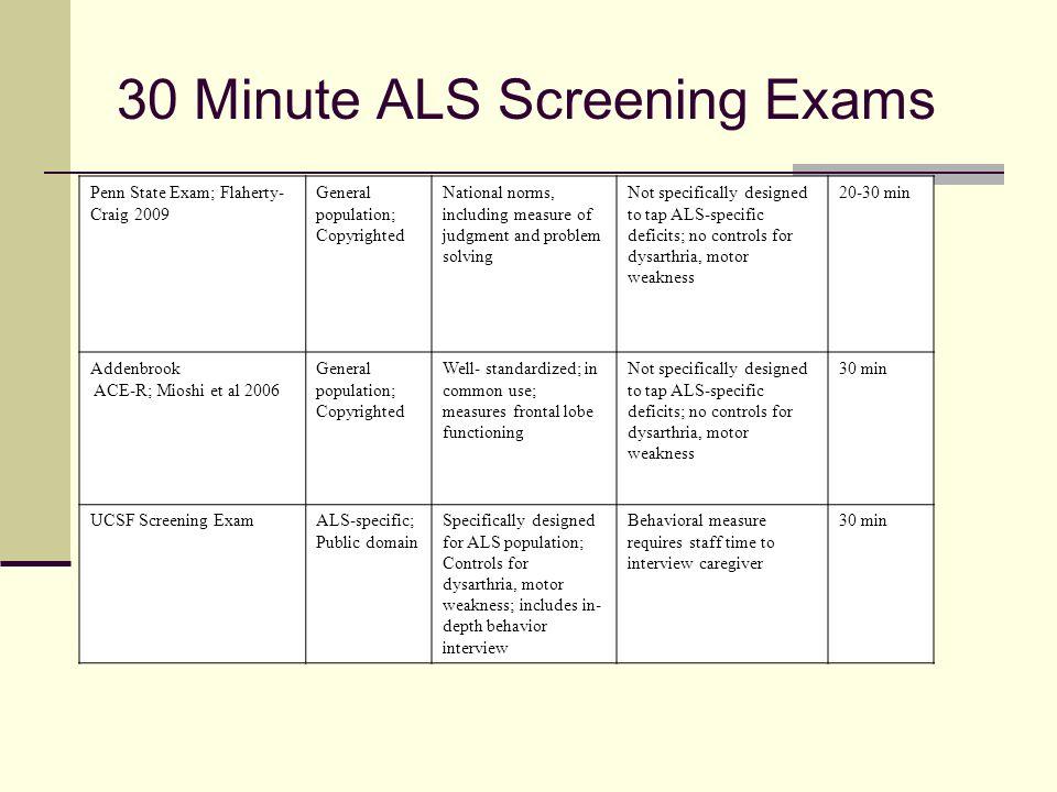 30 Minute ALS Screening Exams