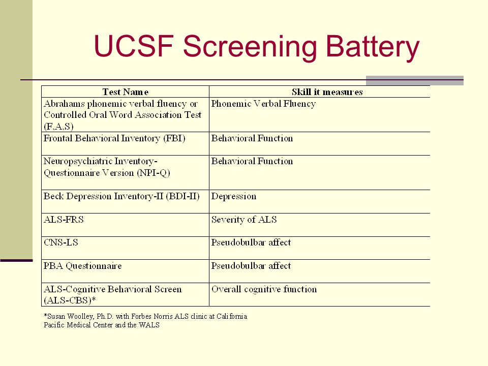 UCSF Screening Battery