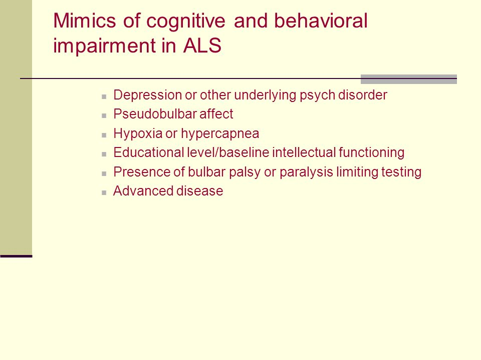 Mimics of cognitive and behavioral impairment in ALS