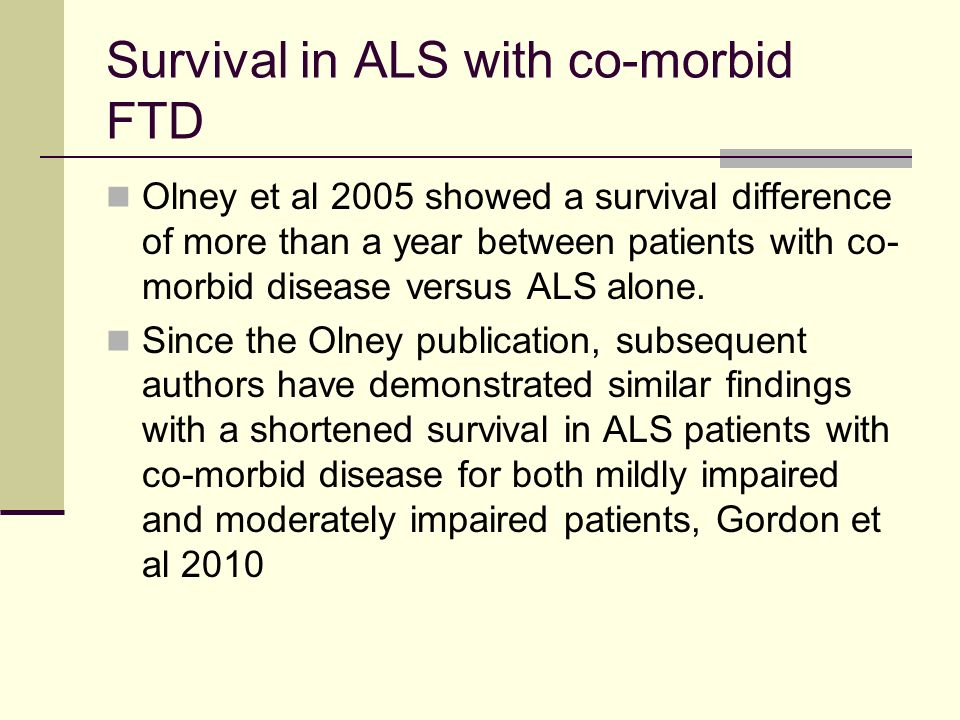 Survival in ALS with co-morbid FTD