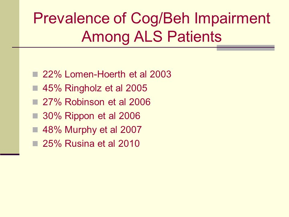 Prevalence of Cog/Beh Impairment Among ALS Patients