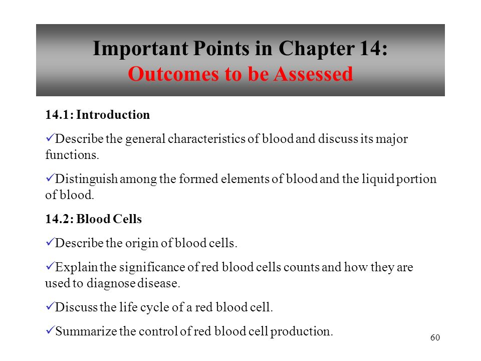 Important Points in Chapter 14: Outcomes to be Assessed