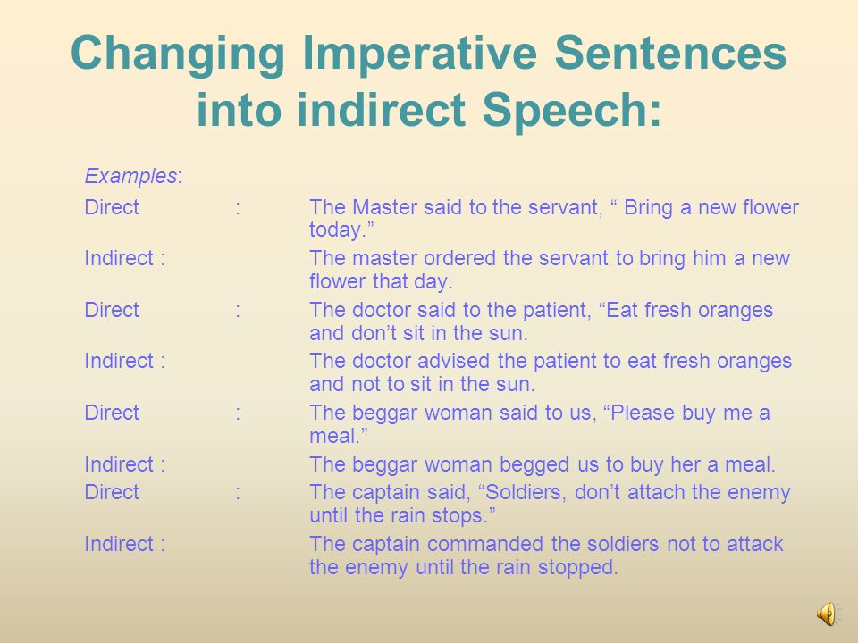 how to change direct speech into indirect speech