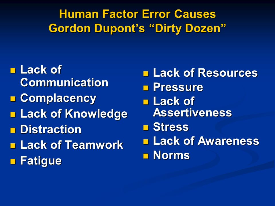 Human Factor Error Causes Gordon Dupont's Dirty Dozen