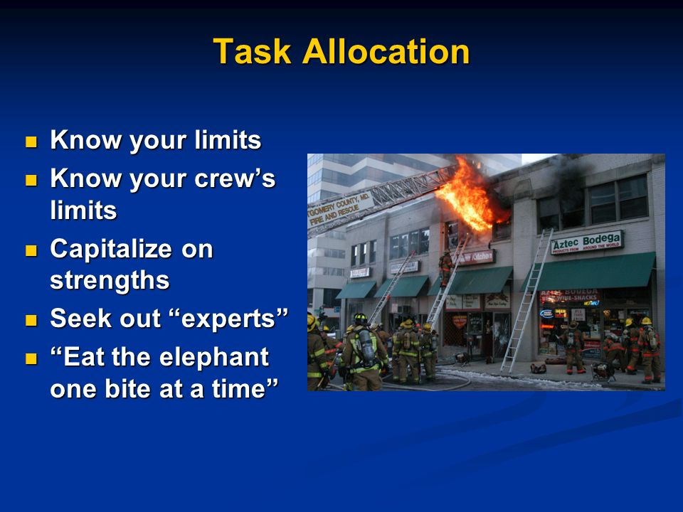 Task Allocation Know your limits Know your crew's limits