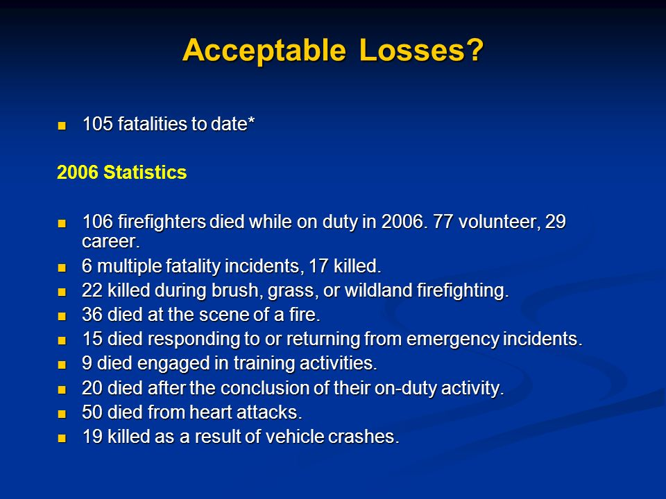 Acceptable Losses 105 fatalities to date* 2006 Statistics