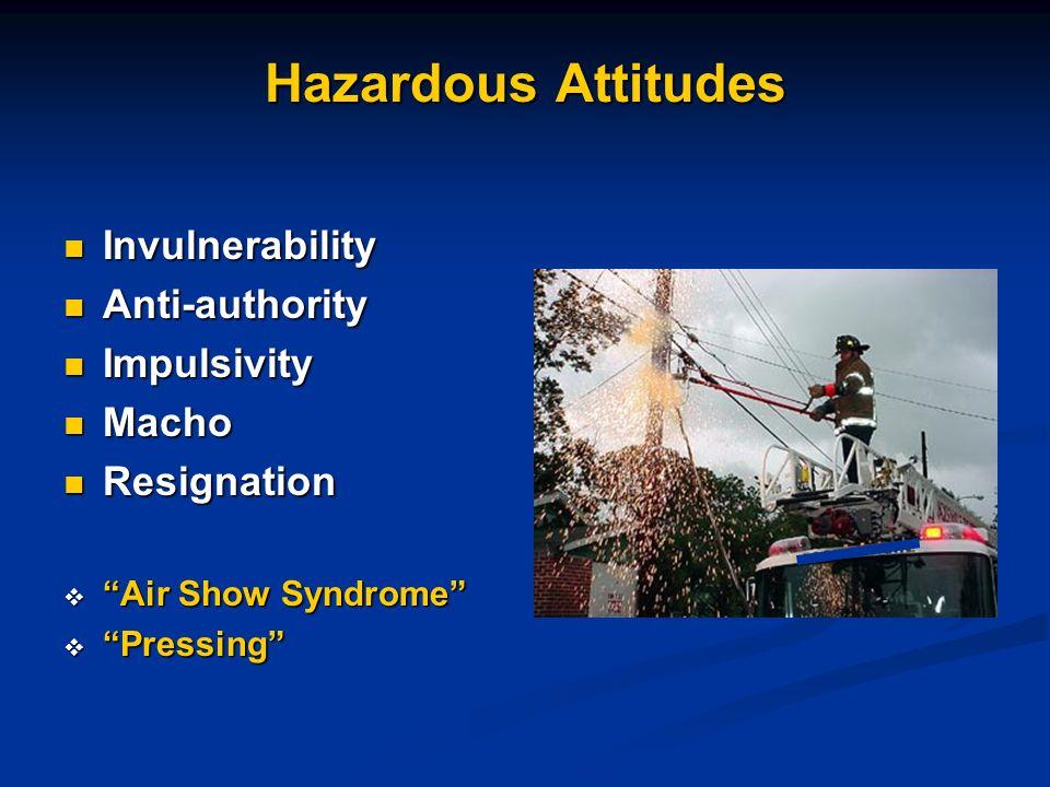 Hazardous Attitudes Invulnerability Anti-authority Impulsivity Macho