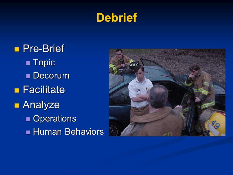 Debrief Pre-Brief Facilitate Analyze Topic Decorum Operations