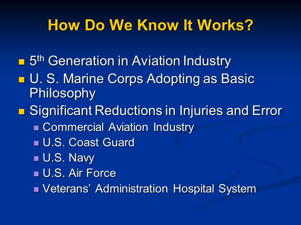 How Do We Know It Works 5th Generation in Aviation Industry