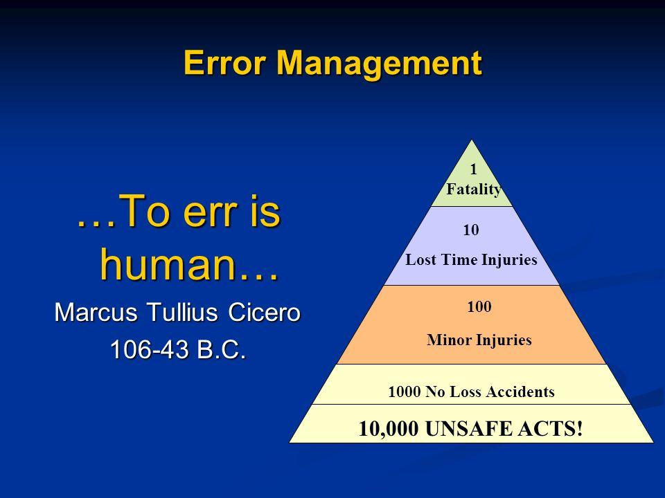 …To err is human… Error Management Marcus Tullius Cicero 106-43 B.C.