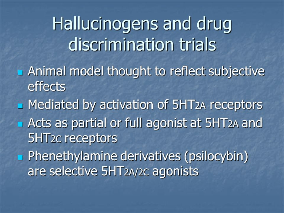 Hallucinogens and drug discrimination trials