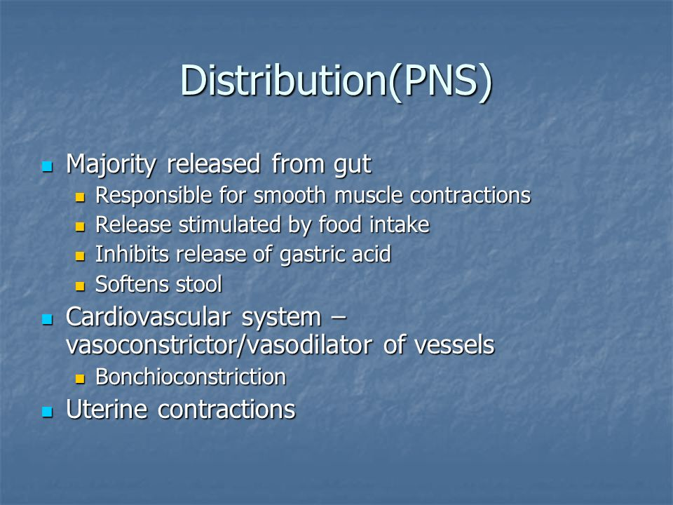 Distribution(PNS) Majority released from gut