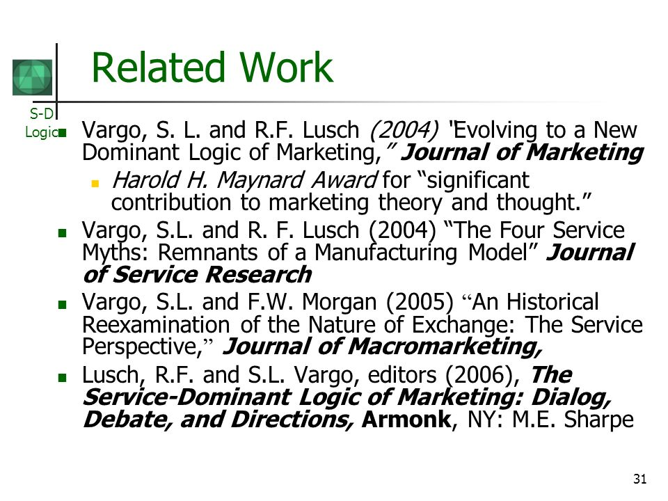 Related Work Vargo, S. L. and R.F. Lusch (2004) Evolving to a New Dominant Logic of Marketing, Journal of Marketing.