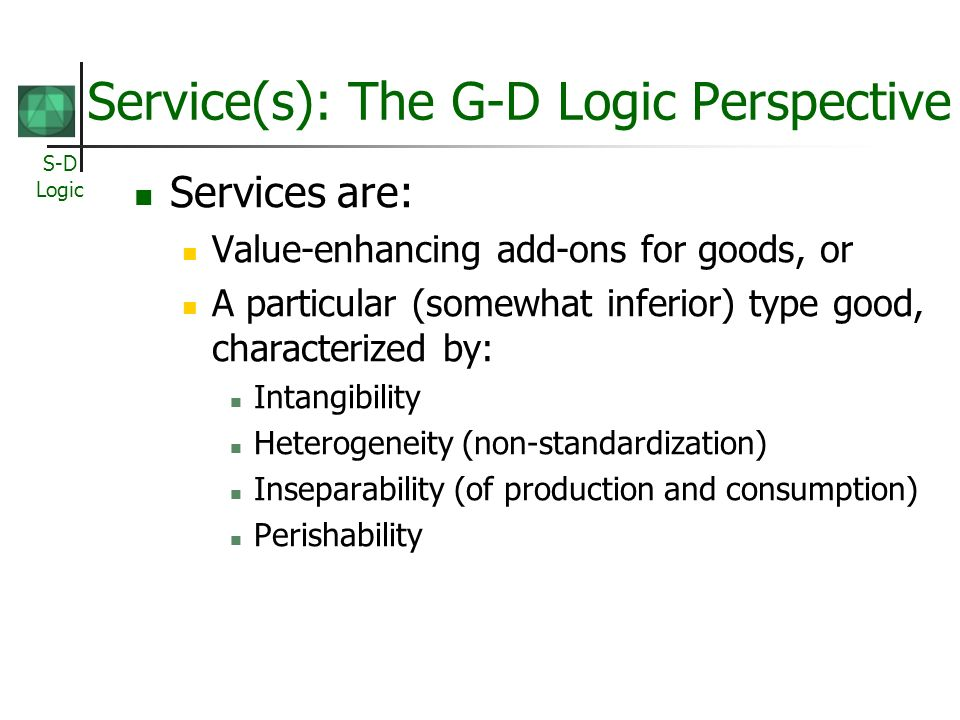 Service(s): The G-D Logic Perspective
