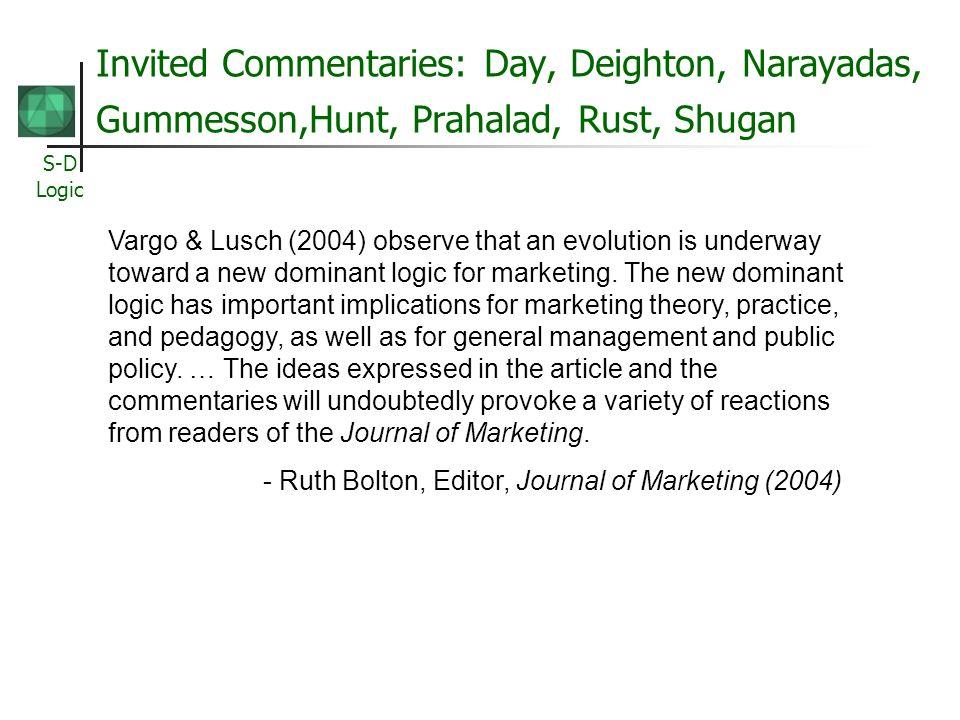 Invited Commentaries: Day, Deighton, Narayadas, Gummesson,Hunt, Prahalad, Rust, Shugan