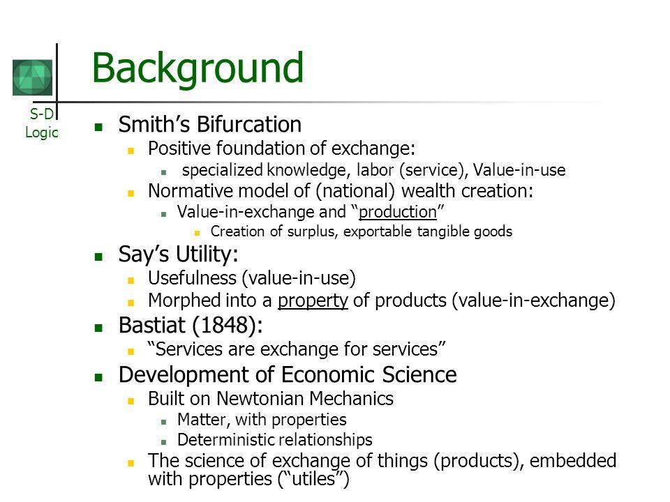Background Smith's Bifurcation Say's Utility: Bastiat (1848):