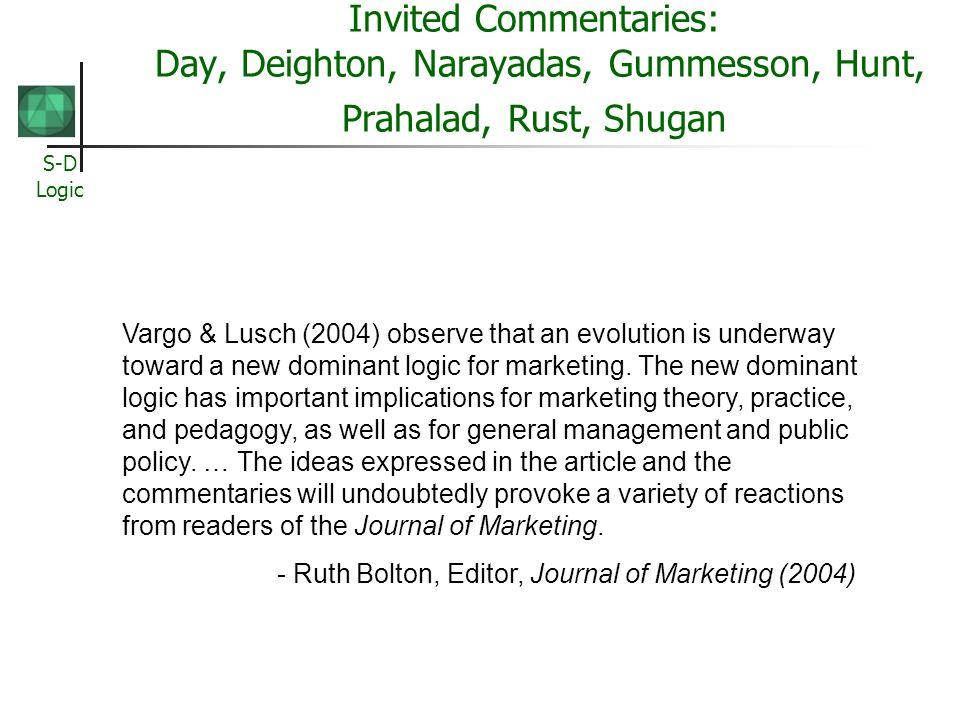 Invited Commentaries: Day, Deighton, Narayadas, Gummesson, Hunt, Prahalad, Rust, Shugan