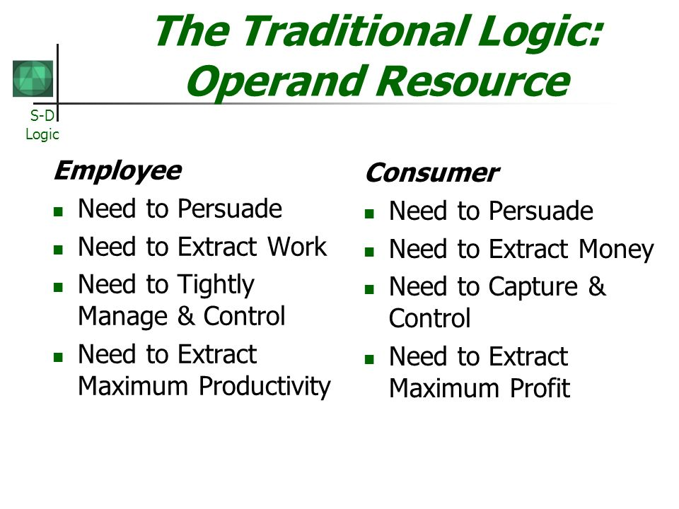The Traditional Logic: Operand Resource