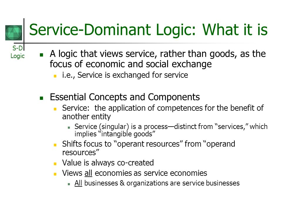 Service-Dominant Logic: What it is