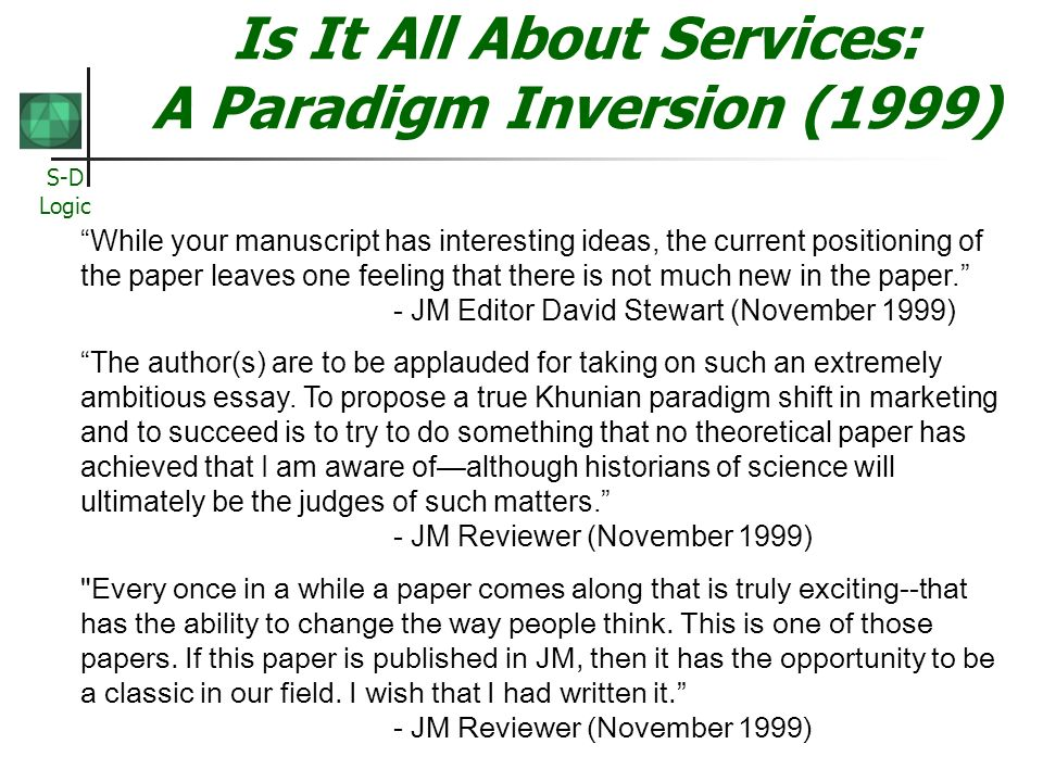 Is It All About Services: A Paradigm Inversion (1999)