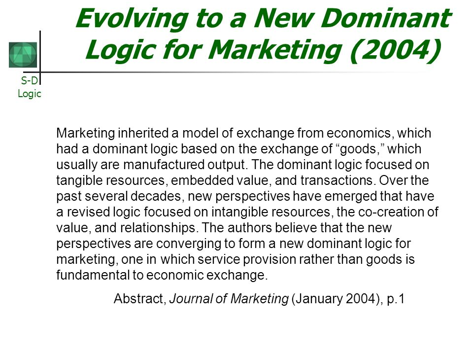 Evolving to a New Dominant Logic for Marketing (2004)