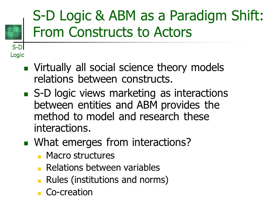 S-D Logic & ABM as a Paradigm Shift: From Constructs to Actors