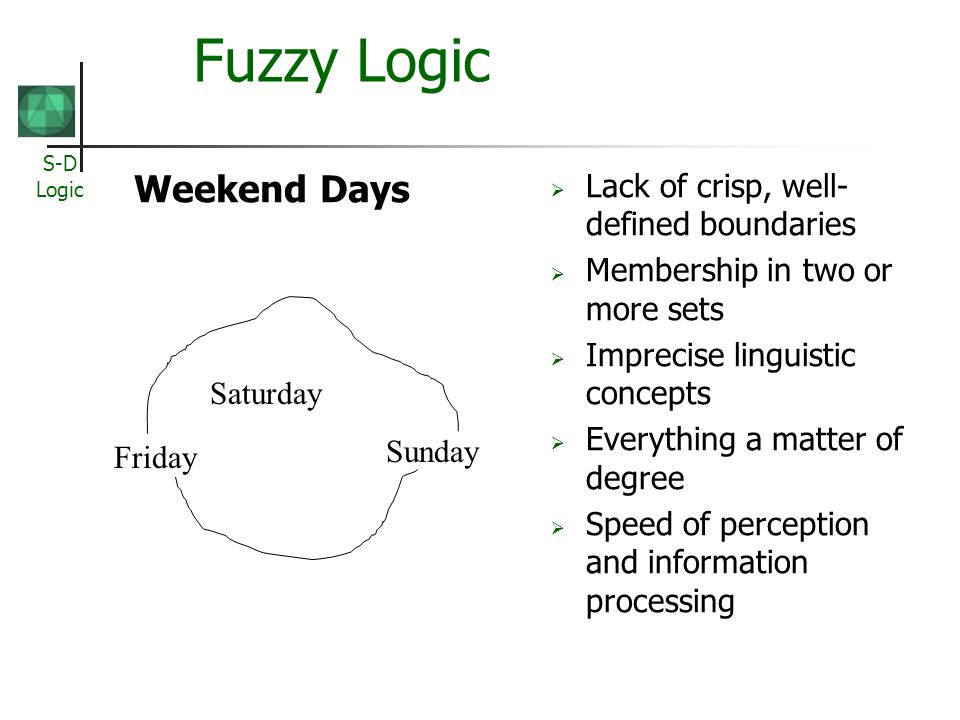 Fuzzy Logic Weekend Days Lack of crisp, well-defined boundaries