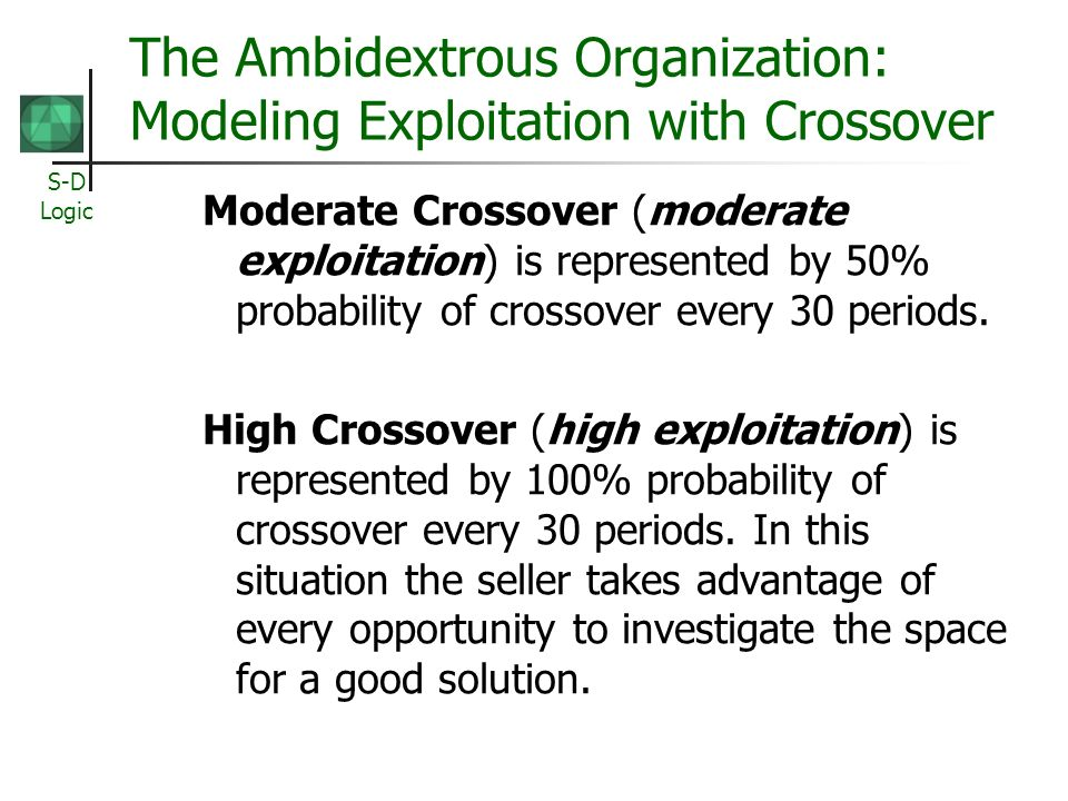 The Ambidextrous Organization: Modeling Exploitation with Crossover