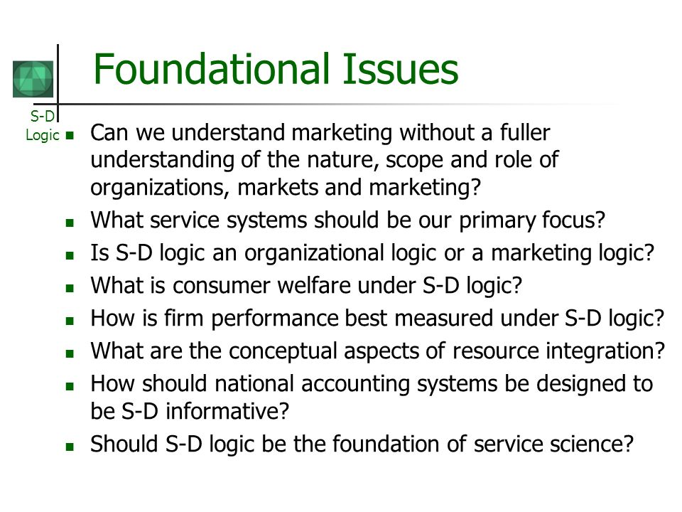 Foundational Issues Can we understand marketing without a fuller understanding of the nature, scope and role of organizations, markets and marketing