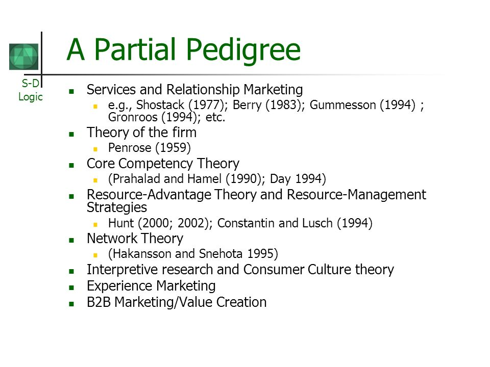 A Partial Pedigree Services and Relationship Marketing