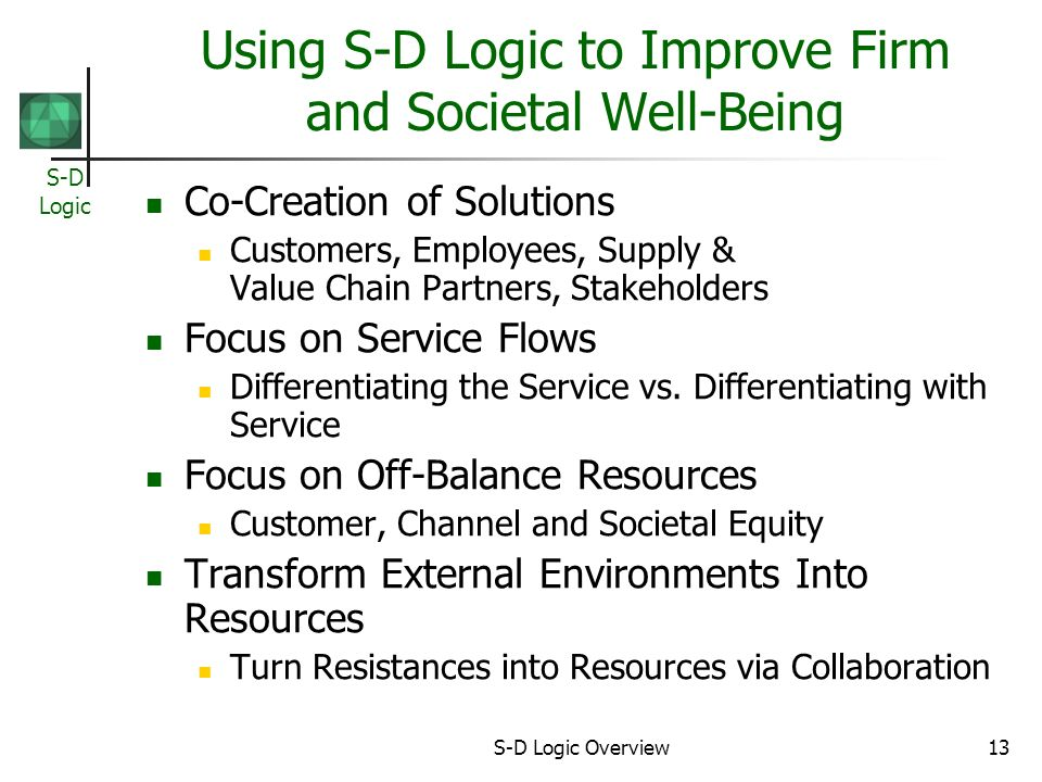 Using S-D Logic to Improve Firm and Societal Well-Being