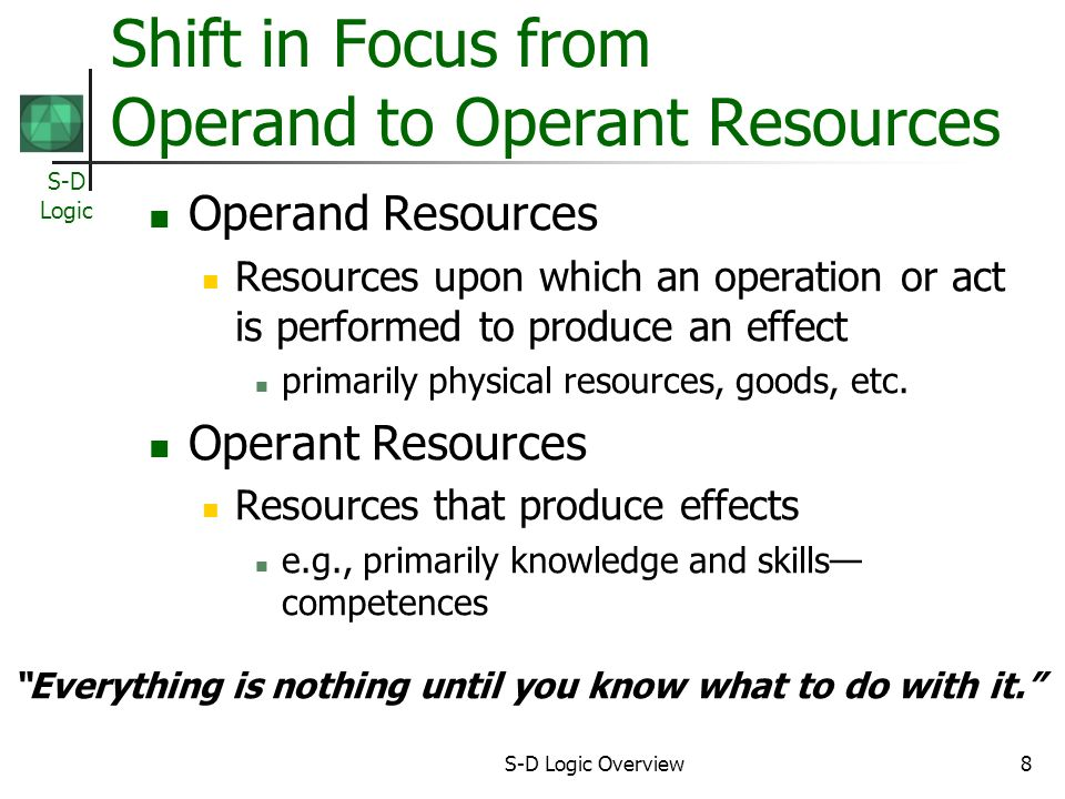Shift in Focus from Operand to Operant Resources