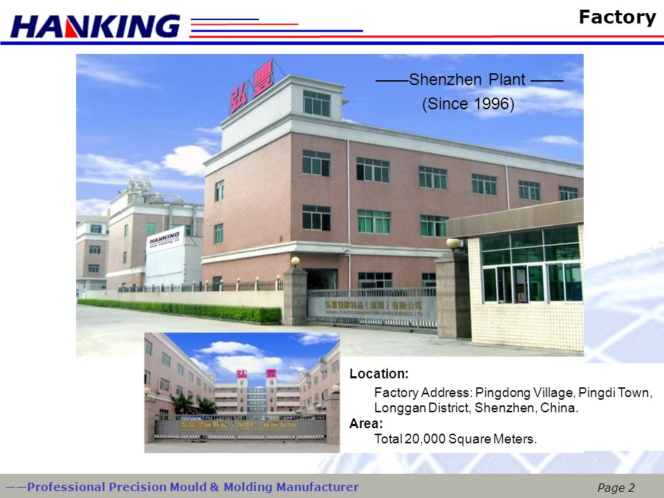 Factory ——Shenzhen Plant —— (Since 1996) Location: