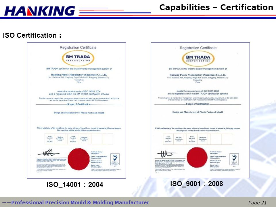 Capabilities – Certification