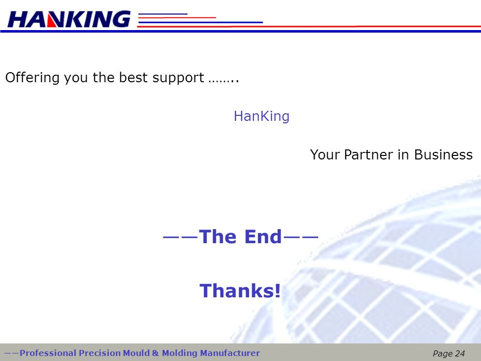 ——The End—— Thanks! Offering you the best support …….. HanKing