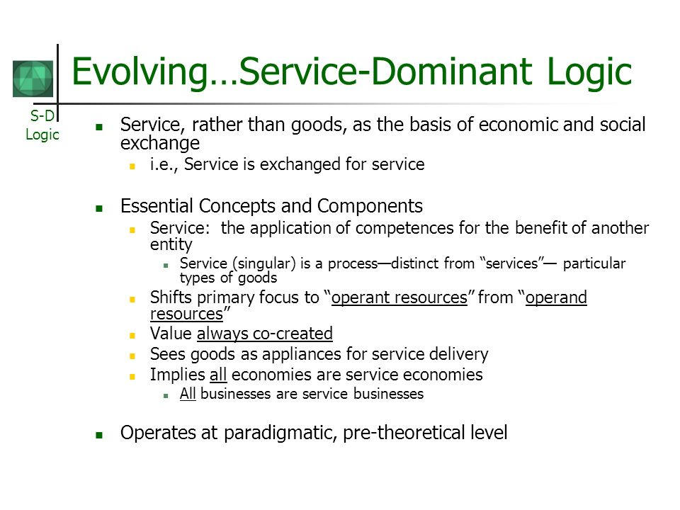 Evolving…Service-Dominant Logic