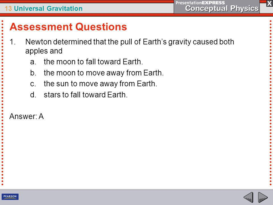 Assessment Questions Newton determined that the pull of Earth's gravity caused both apples and. the moon to fall toward Earth.