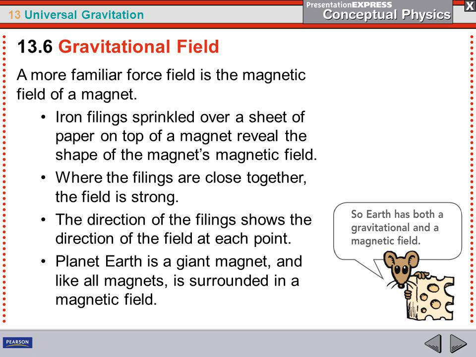 13.6 Gravitational Field A more familiar force field is the magnetic field of a magnet.