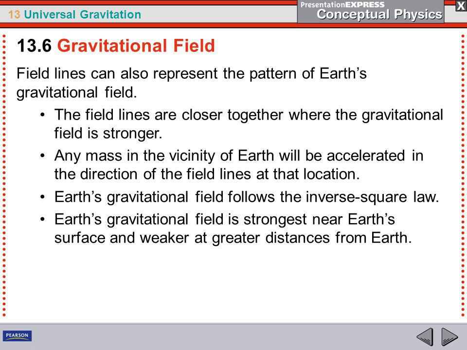 13.6 Gravitational Field Field lines can also represent the pattern of Earth's gravitational field.