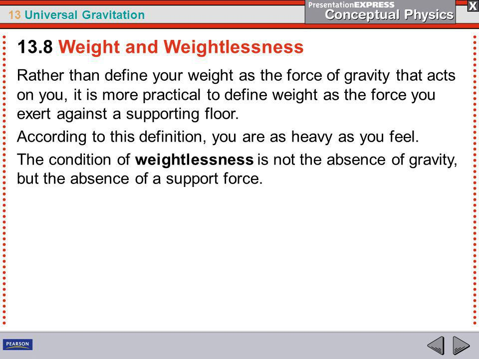13.8 Weight and Weightlessness
