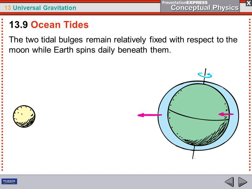 13.9 Ocean Tides The two tidal bulges remain relatively fixed with respect to the moon while Earth spins daily beneath them.