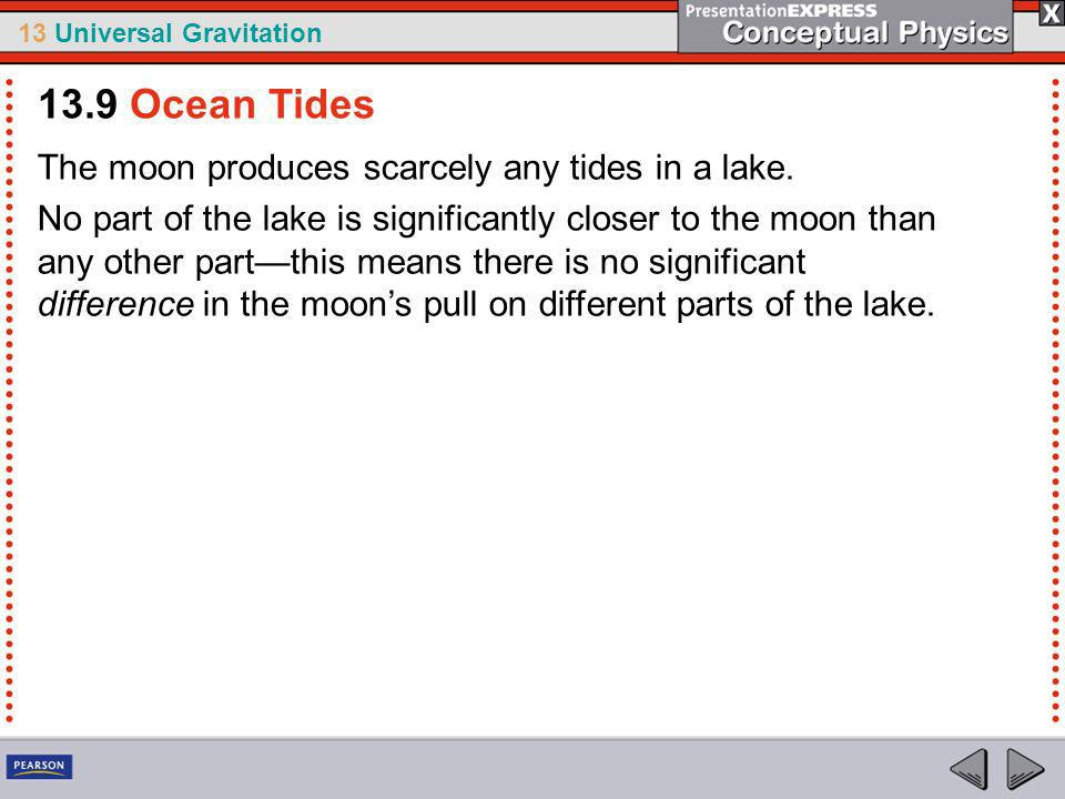 13.9 Ocean Tides The moon produces scarcely any tides in a lake.