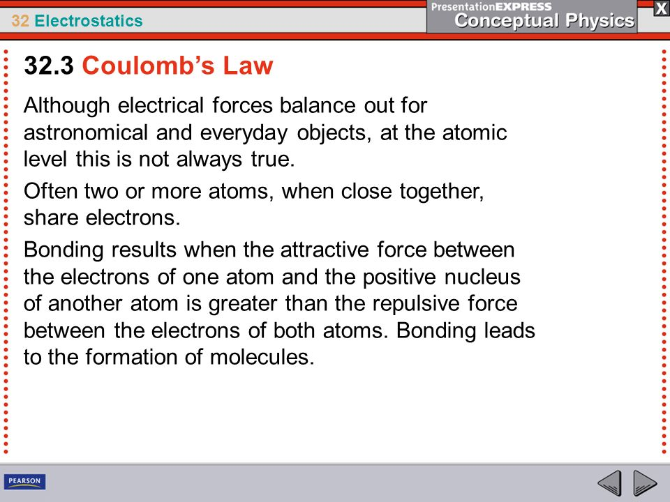 32.3 Coulomb's Law Although electrical forces balance out for astronomical and everyday objects, at the atomic level this is not always true.