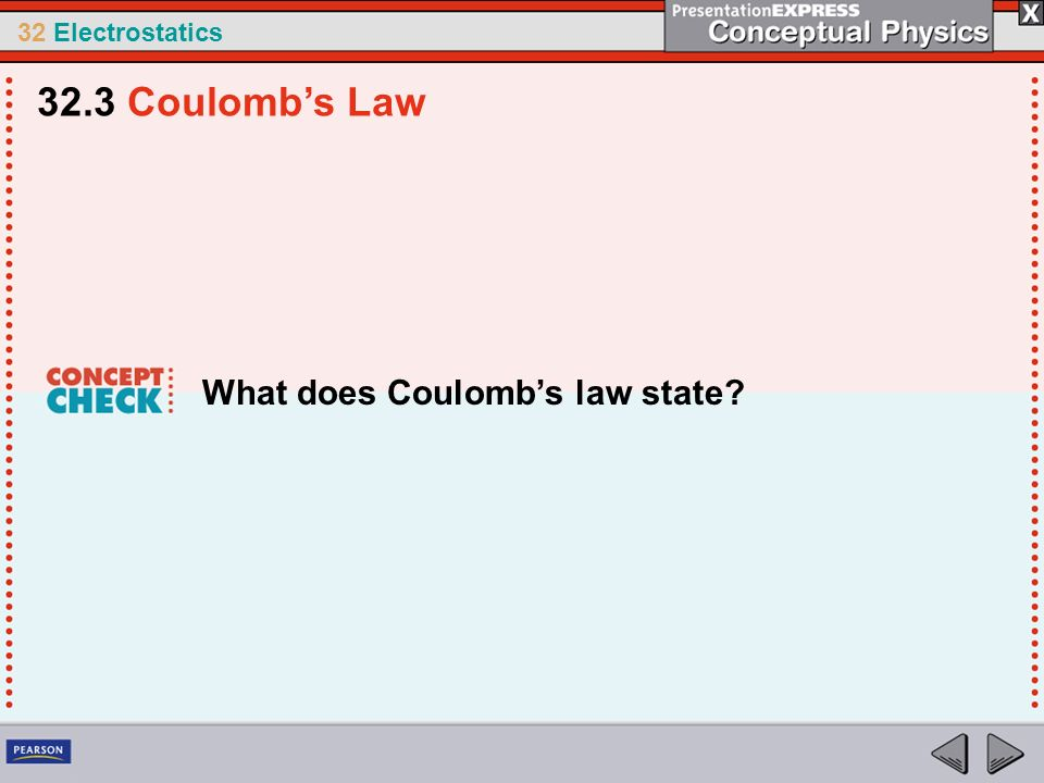 32.3 Coulomb's Law What does Coulomb's law state