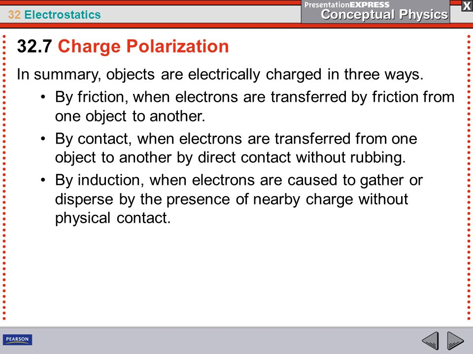 32.7 Charge Polarization In summary, objects are electrically charged in three ways.