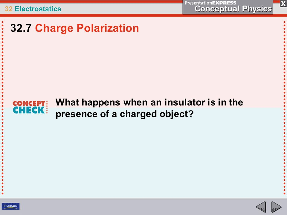 32.7 Charge Polarization What happens when an insulator is in the presence of a charged object