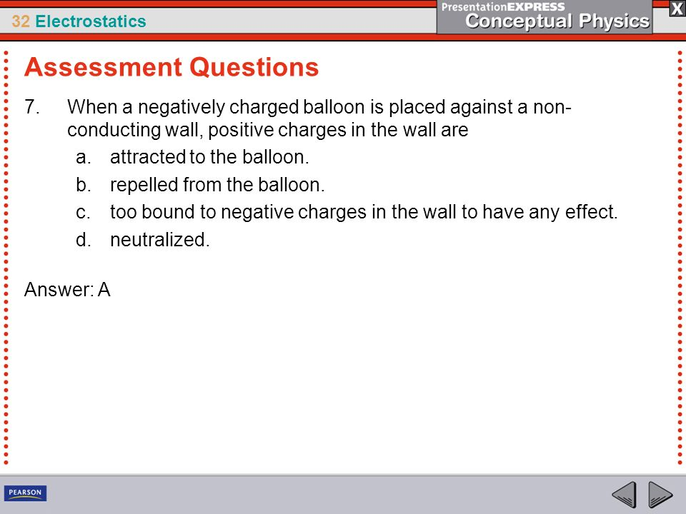Assessment Questions When a negatively charged balloon is placed against a non-conducting wall, positive charges in the wall are.